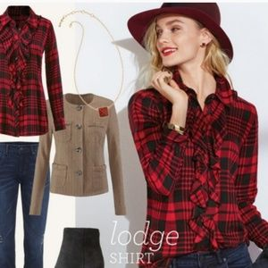 Cabi red plaid Lodge shirt #3335 fitted size S